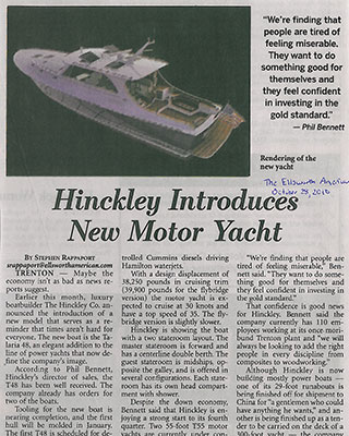 Ellsworth American Newspaper – Hinckley Introduces New Motor Yacht