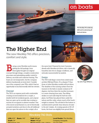 Talaria 43 Featured in Chesapeake Bay Magazine October 2015 Issue