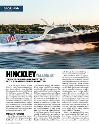 Talaria 43 Featured in Sea Magazine October 2015 Issue