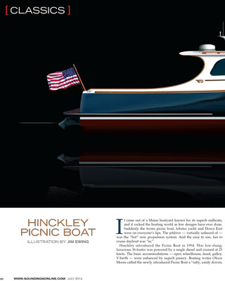 Hinckley Picnic Boat MKIII Featured in Soundings July 2014 Issue