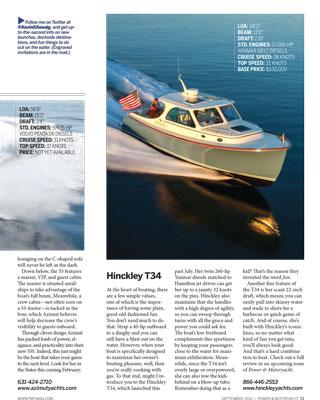 Power & Motoryacht Magazine Hinckley T34 September 2012