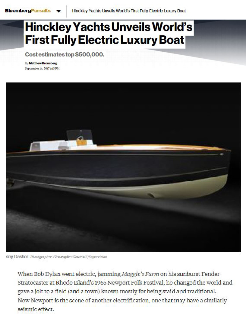 Hinckley Dasher Featured on Bloomberg Pursuits