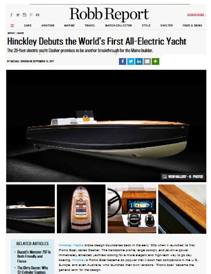 Hinckley Dasher Featured on Robb Report