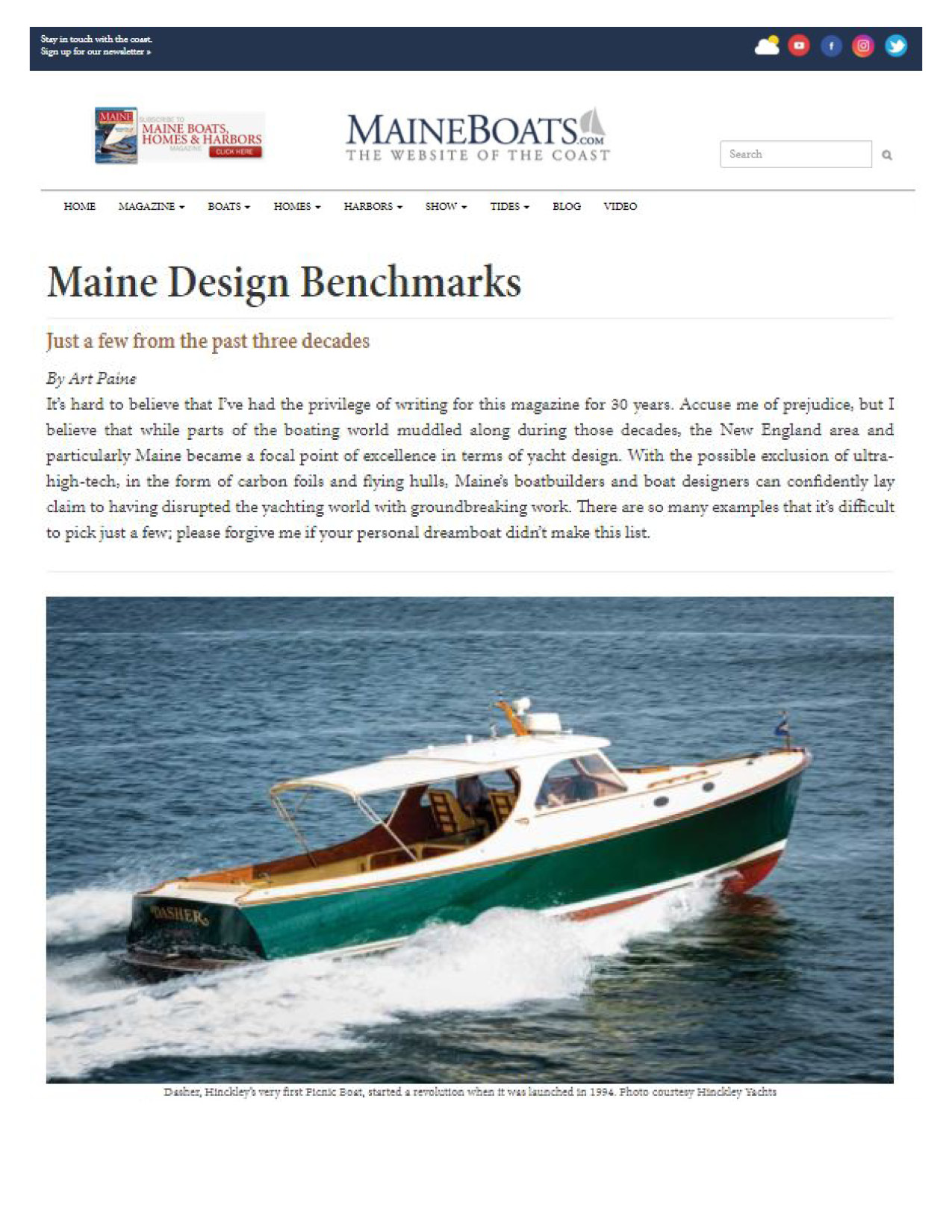 Hinckley Picnic Boat Featured on Maine Boats, Homes & Harbors