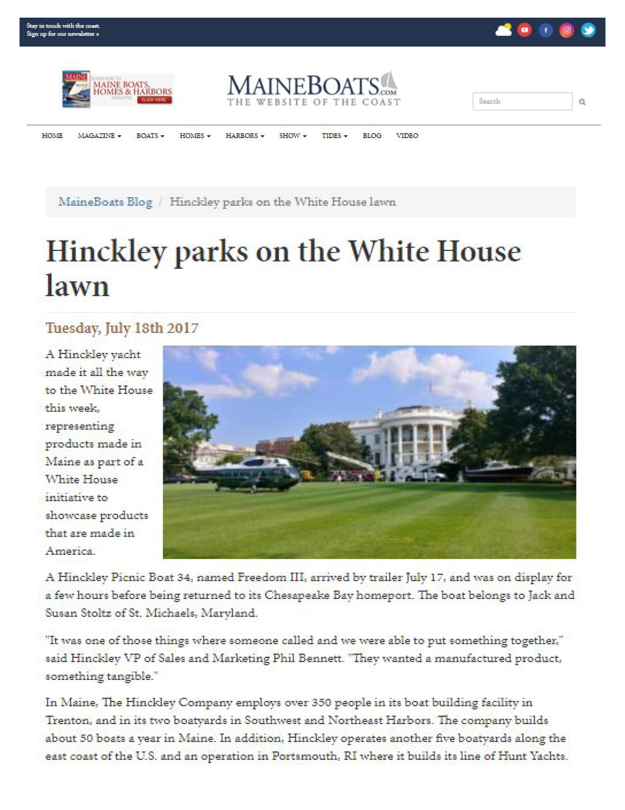 Hinckley Featured on Maine Boats Homes & Harbors
