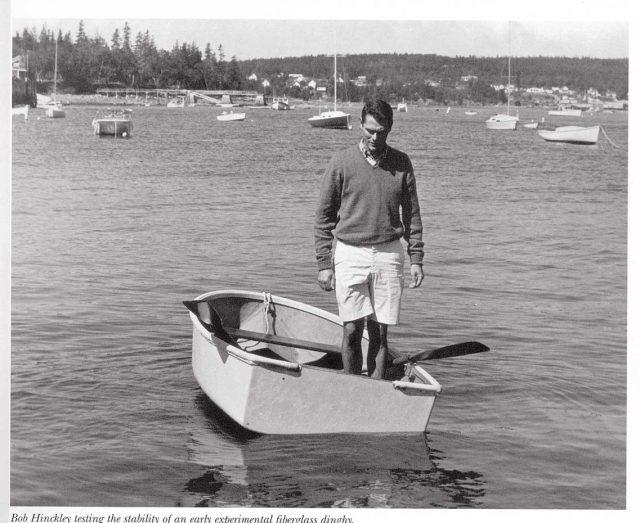 Bob Hinckley Testing Early Fiberglass Boat