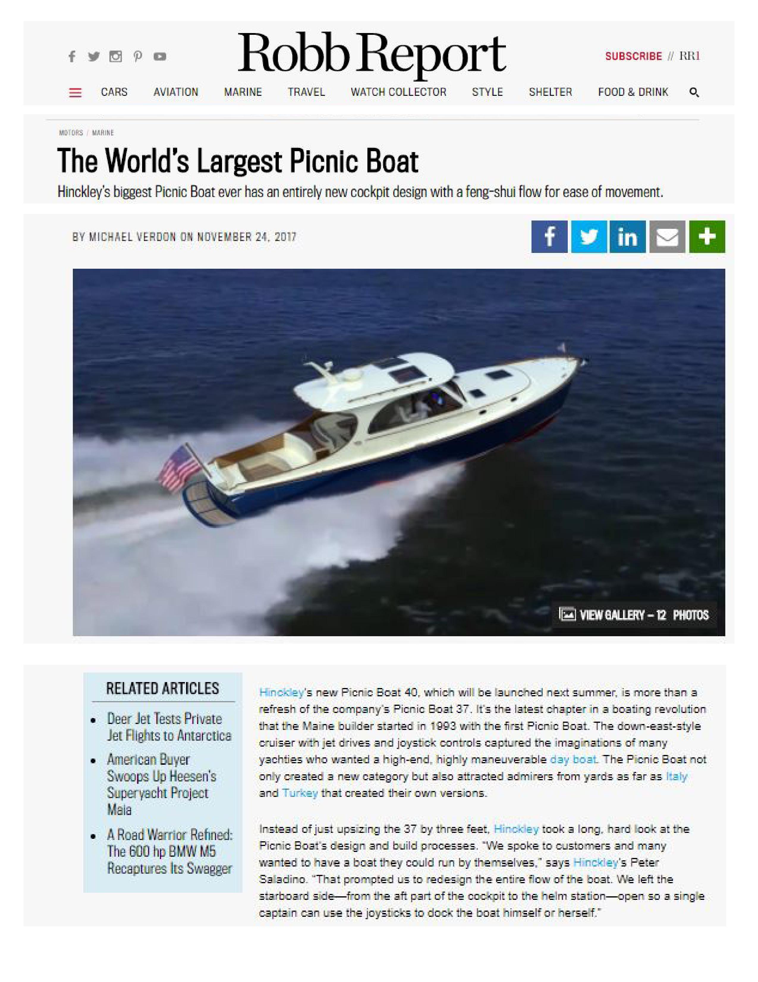 Picnic Boat 40 in Robb Report