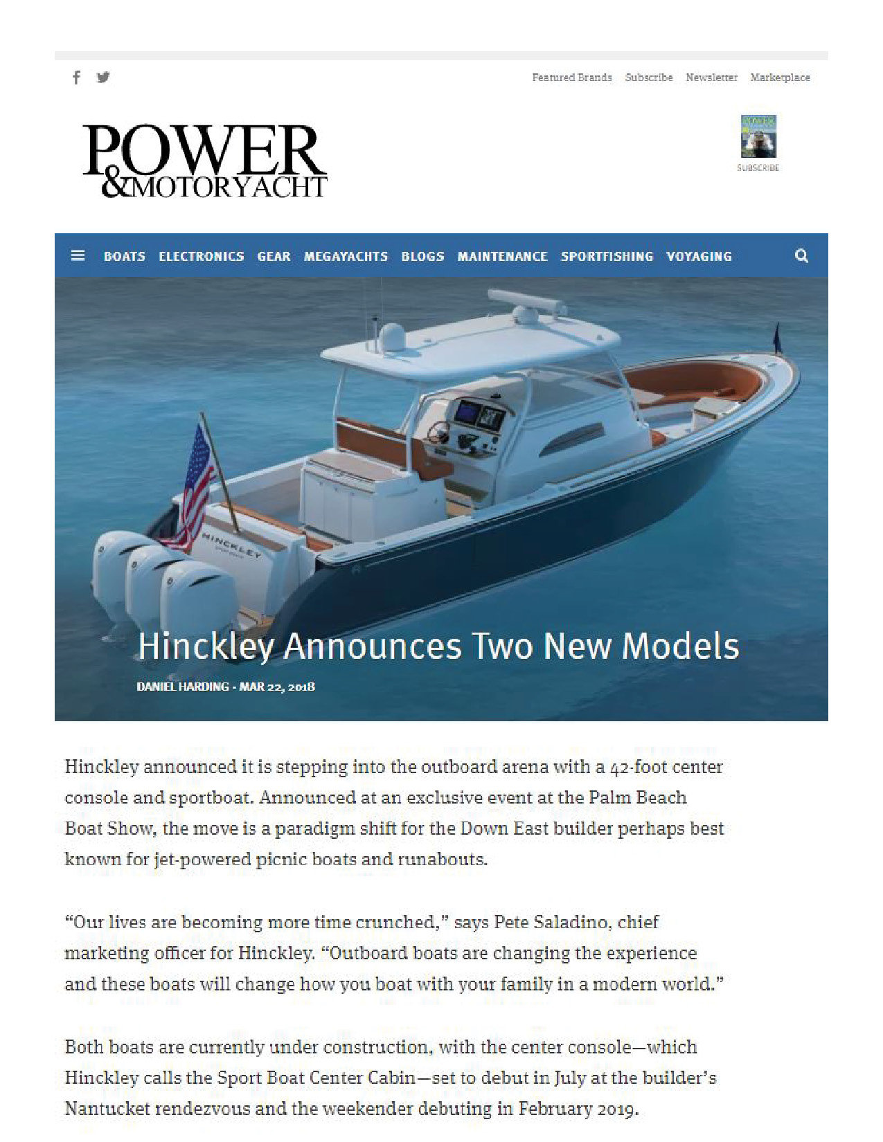 Hinckley Sport Boats Featured on Power & Motoryacht
