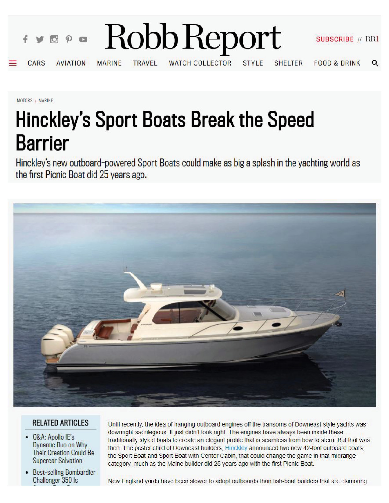 Hinckley Sport Boats Featured on Robb Report