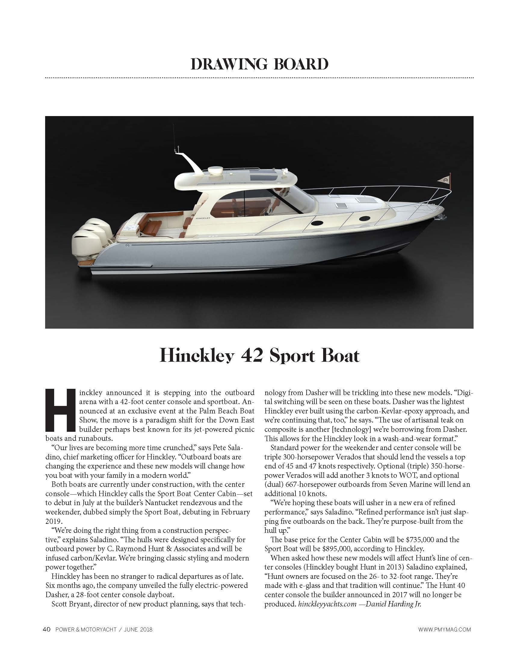 Hinckley Sport Boat Featured in Power & Motoryacht