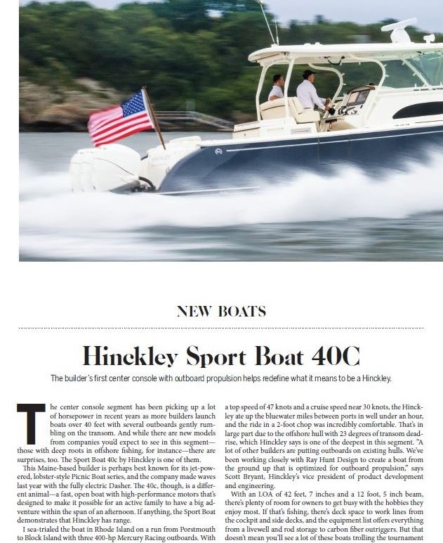 Hinckley Sport Boat 40c Featured in Power & Motoryacht