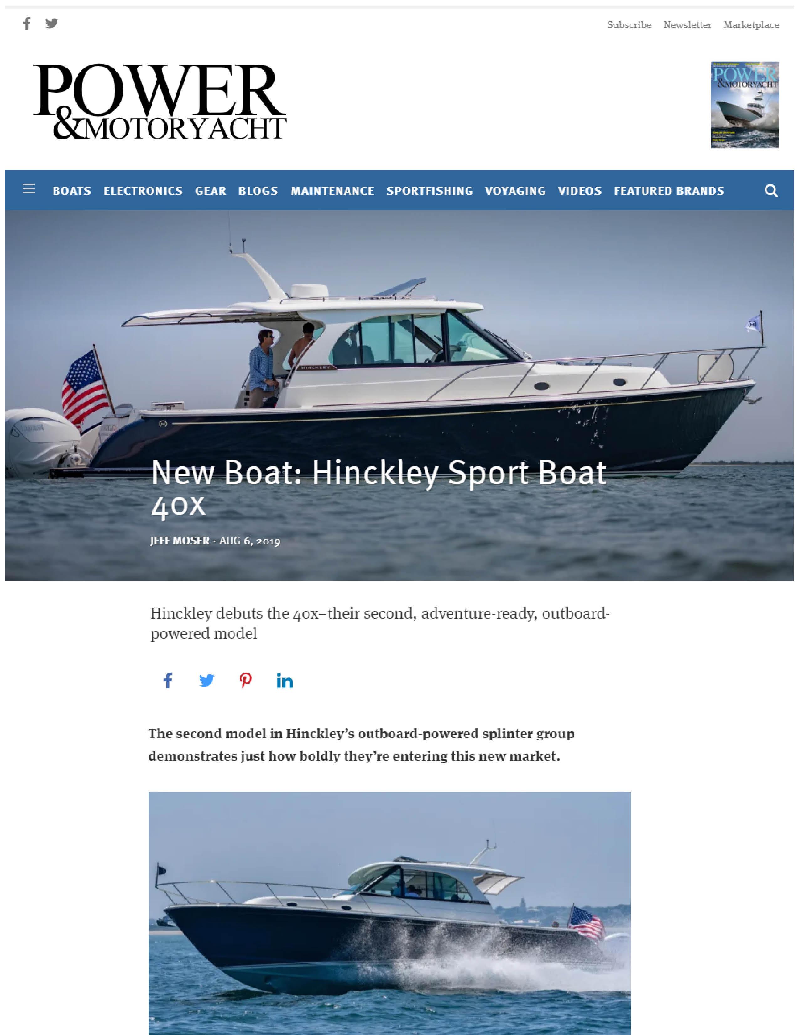 Hinckley Sport Boat 40x Featured in Power & Motoryacht