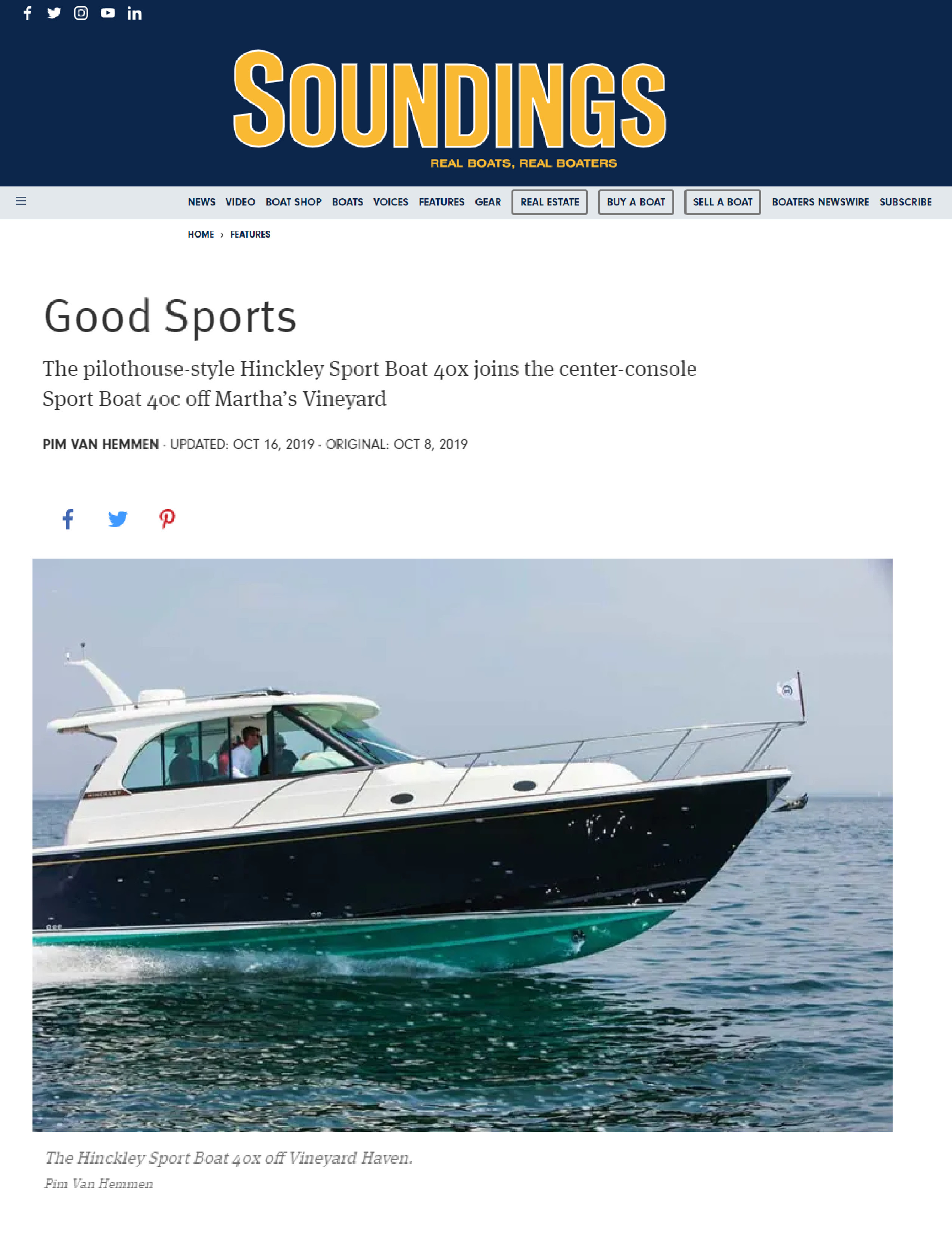 Hinckley Sport Boats featured on Soundings