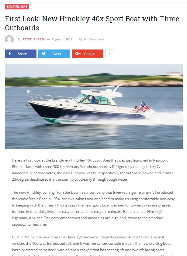 Sport Boat 40x reviewed in Cruising Odyssey