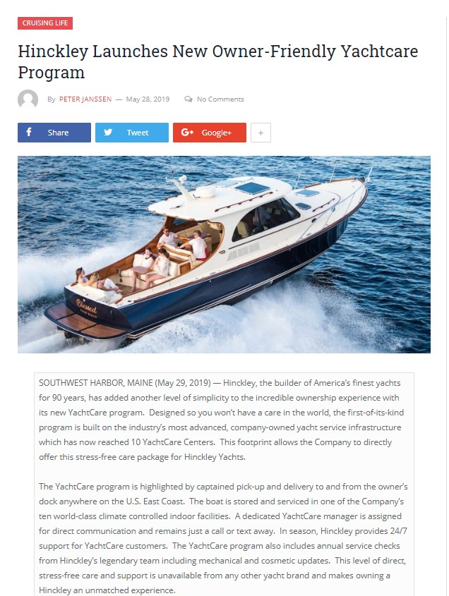 Hinckley YachtCare in Cruising Odyessey