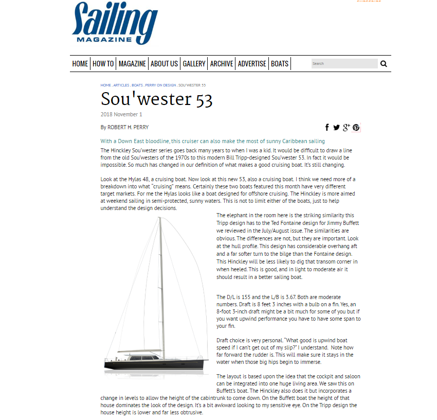 Sou'wester 53 in Sailing magazine