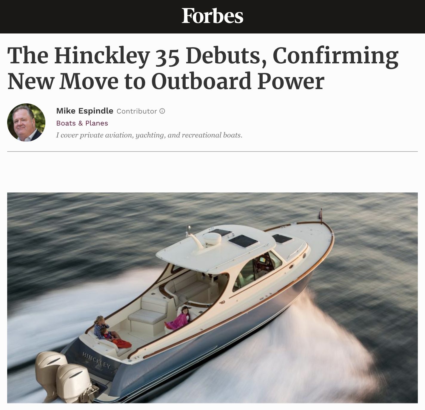 The Hinckley 35 Debuts, Confirming New Move to Outboard Power