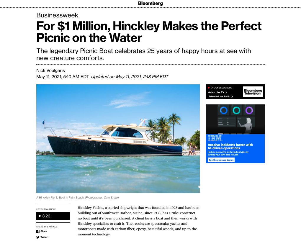 Bloomberg: For $1 Million, Hinckley Makes the Perfect Picnic on the Water